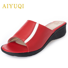 AIYUQI 2019 new genuine leather women slippers big size 41#42#43# shoes flats red female summer