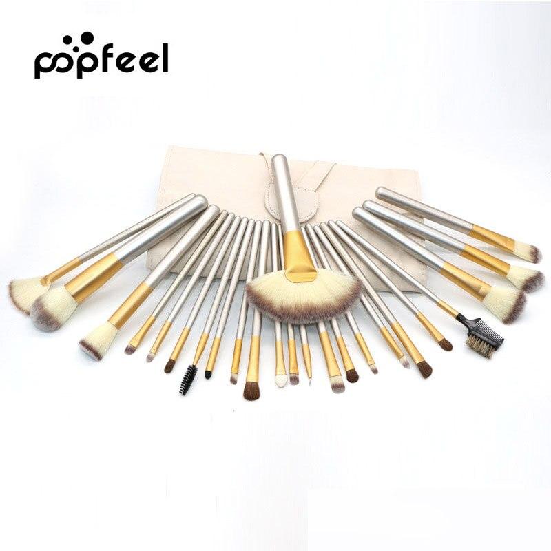 POPFEEL Brand 12/18/24pcs Luxury Makeup Brush Kit Foundation Contour Makeup Brushes Set Blending Cosmetic Brush With Leather Bag
