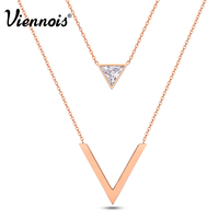 Viennois New Rose Gold Plated V Shaped Double Layers Chain Necklaces For Women Geometric Triangle Zircon