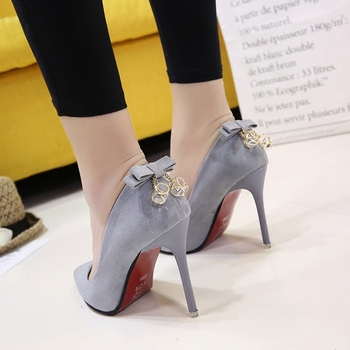 Spring and autumn new Korean pink high heels pointed stiletto fashion shoes suede shallow mouth bow single shoes Pumps