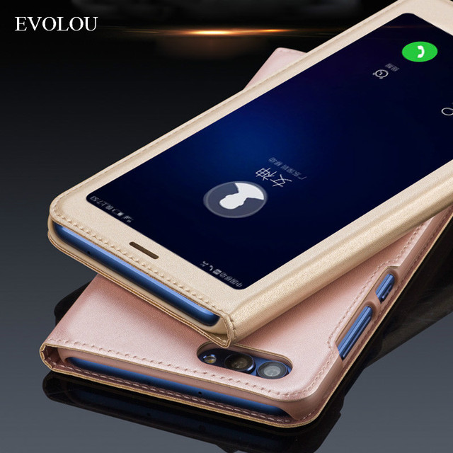 newest 81326 ded74 US $3.99 20% OFF|For HUAWEI P Smart Case View Window Flip Cover For HUAWEI  Enjoy 7S Ultra Thin Phone Bag & Back Cover-in Flip Cases from Cellphones &  ...