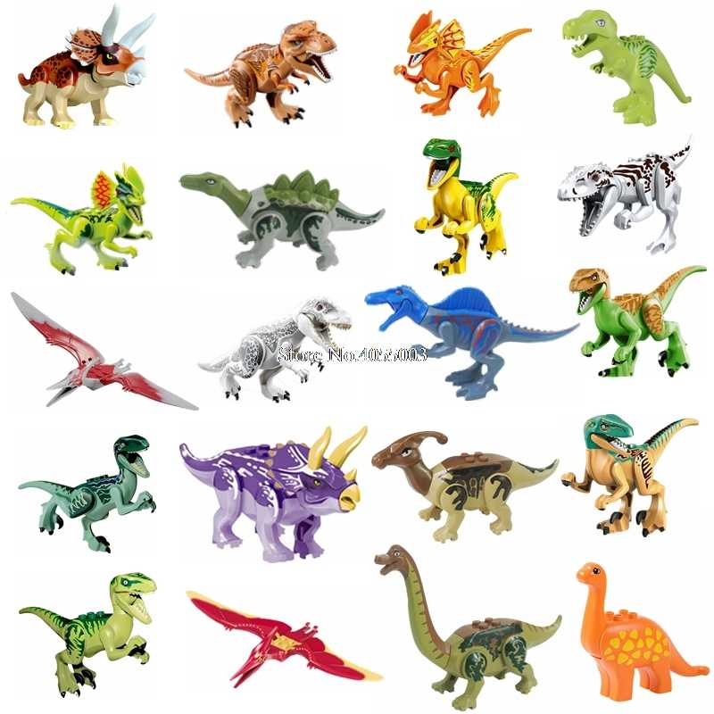 Legoing Jurrassic World 2 Animals Jurassic Dinosaurs Park Set Velociraptor Blue T-Rex Triceratop Indomirus Block Legoings Animal