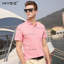 HIYSIZ New T-Shirts 2019 Soft Streetwear Striped Casual Fashion Tee Turn-down Collar Short Sleeves T Shirt For Summer ST001