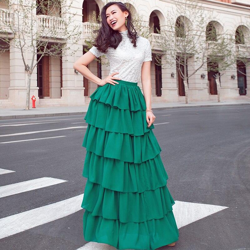 Faldas Personalizar Tamaño Colores De Plus Volantes Multiple Largo Sobre Verano Maxi Elegante Pastel Elástico Falda Capa Grande La Gasa Cintura 120 gxn6Hq1aOw