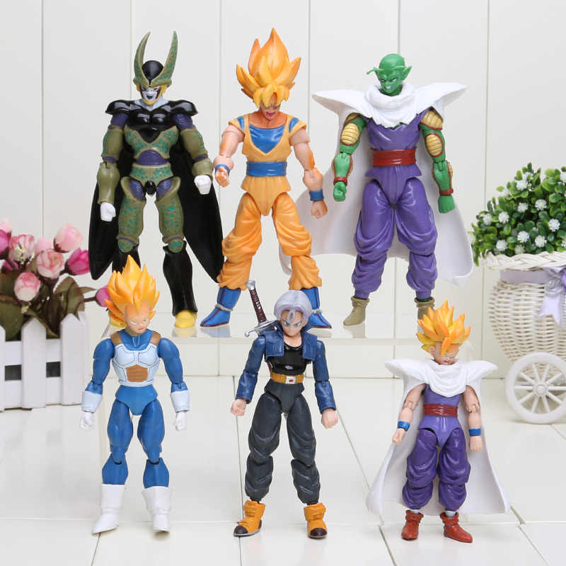 6 pçs/set Dragon Ball Z Vegeta Piccolo Móvel Conjunta Son Gohan Goku Trunks PVC Action Figure Toys