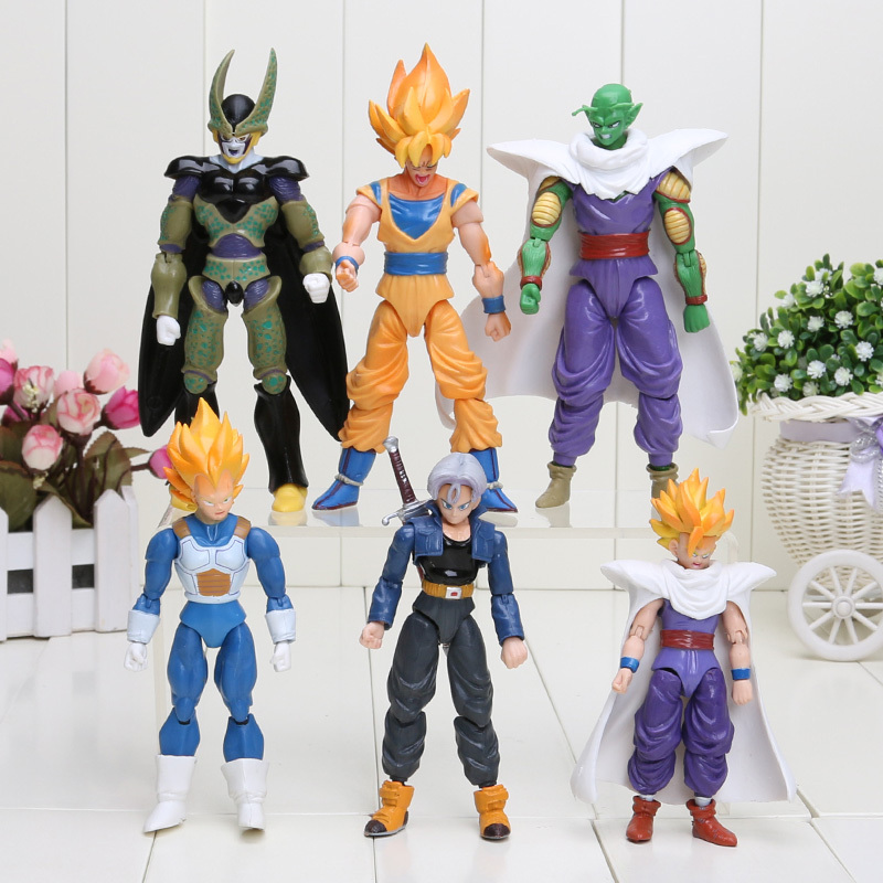 8pcs/set 6pcs/set Dragon Ball Z Joint Movable Vegeta Piccolo Son Gohan Son Goku Trunks PVC Action Figure Toys