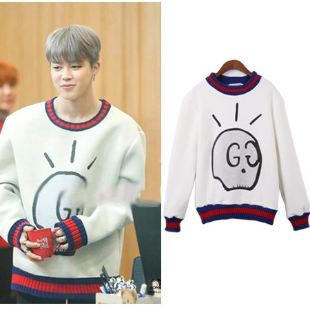kpop BTS JIMIN same autumn winter fashion fleece hoodies korea student long sleeves Hara ...