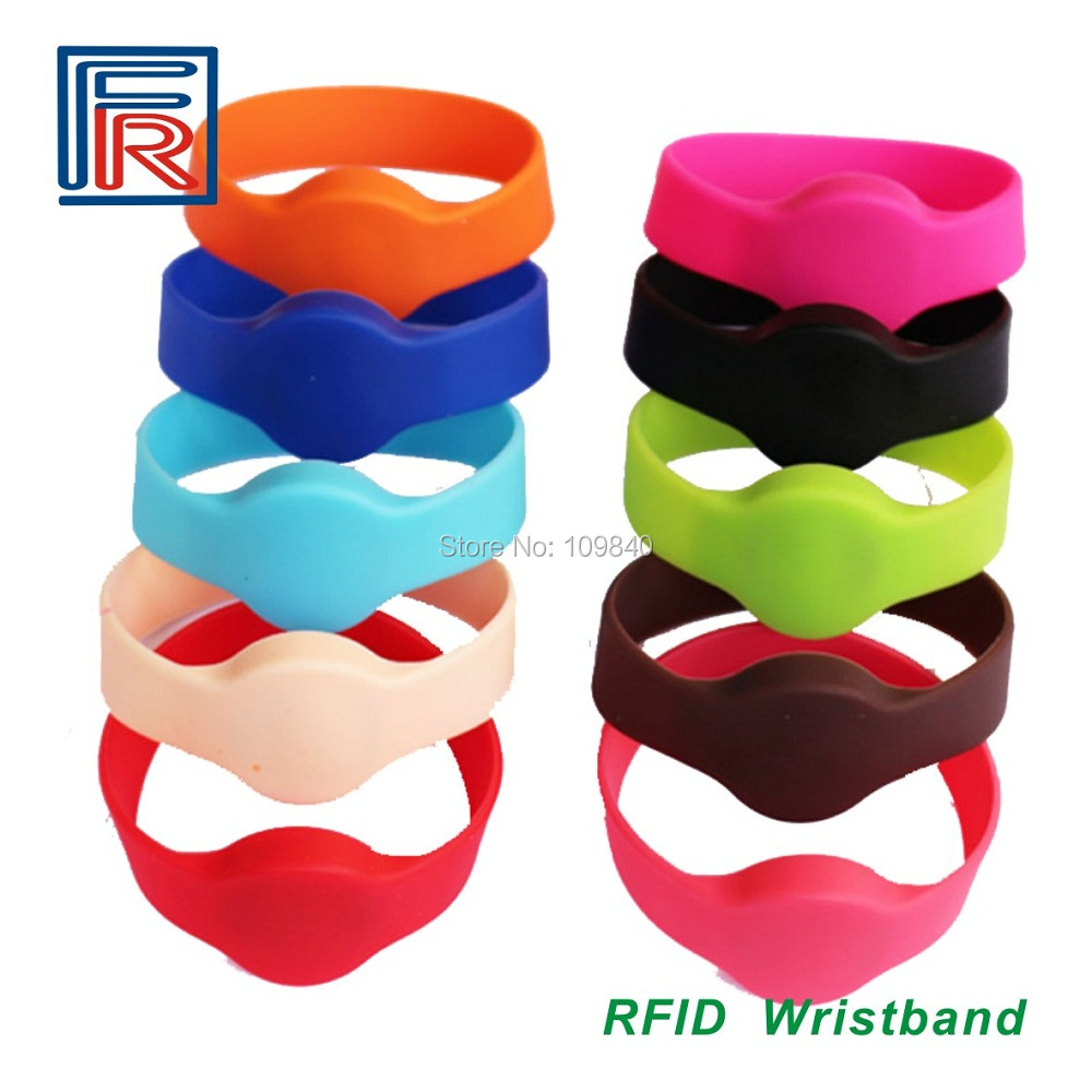10PCS 13.56MHz RFID wristband with Silicone and Nylon wristband samples free shipping wb03 rfid wristband silicone wristband