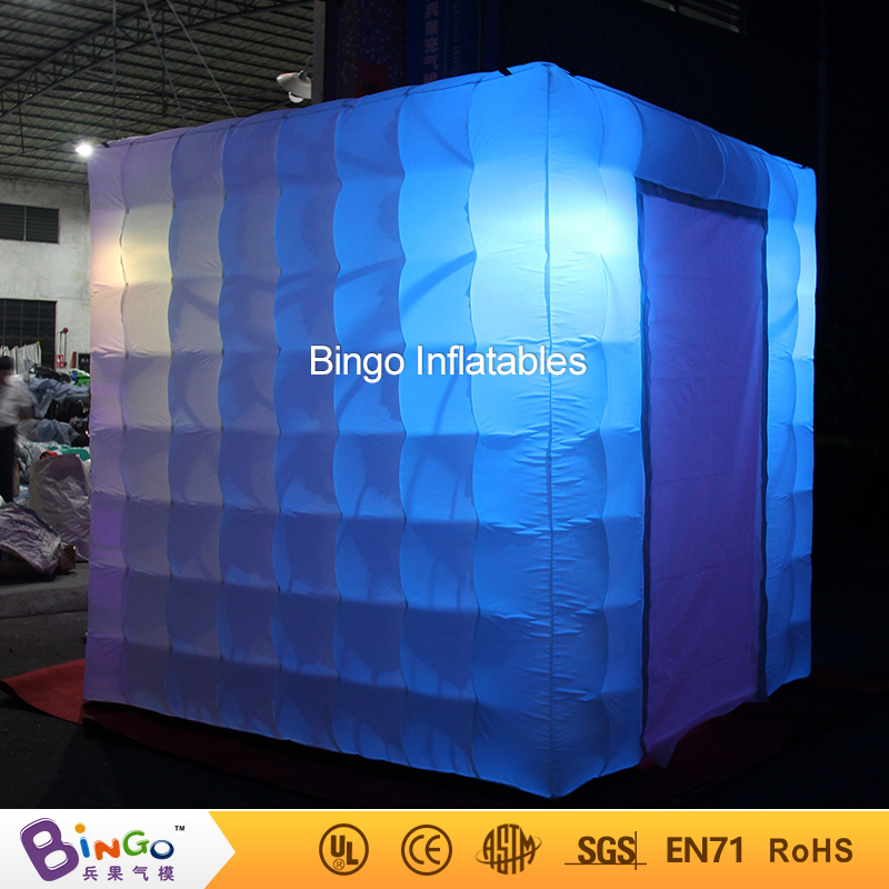 2.4 m (8ft) portatile cubo gonfiabile photo booth con un mini built-in ventilatore, illuminazione a led <font><b>photobooth</b></font> tenda con due porte tenda giocattolo image