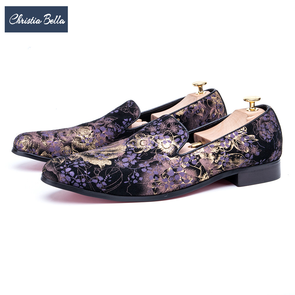 Christia Bella British Style Flowers Printing Men Loafers Fashion Party Prom Men Dress Shoes Slip on Smoking Slippers Big Size new black embroidery loafers men luxury velvet smoking slippers british mens casual boat shoes slip on flat shoes espadrilles