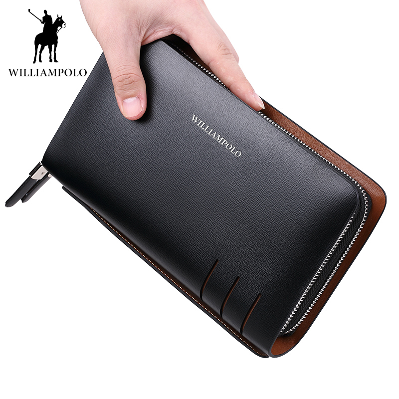 WILLIAMPOLO Men Clutches Mens Casual Handbag Man Large Wallets Card Holder Genuine Leather Dress Male Billfold Cartera HombreWILLIAMPOLO Men Clutches Mens Casual Handbag Man Large Wallets Card Holder Genuine Leather Dress Male Billfold Cartera Hombre