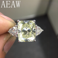 AEAW 925 Silver Yellow Radiant Cut Moissanite Engagement Ring 4ct 8x10mm Center with Trillion Anniversary Ring for Women