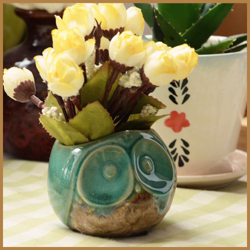 Home decor Ceramic owl decoration small flower pot home decor desktop planters owl shape symbol of wisdom hot sales