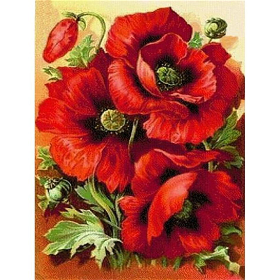 SASHIKO 100% Full Round/Square Drill DIY 5D Full Drill Poppy flower Diamond Embroidery Patterns Home Decor Diamond Painting(China)
