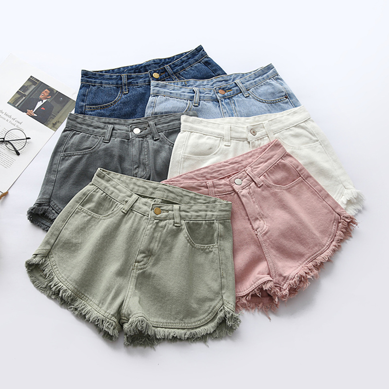 2019 Tassel Denim   Shorts   Women   Short   Jeans For Women Bottoms Female High Waist   Shorts   Jeans Feminino 7 Colors