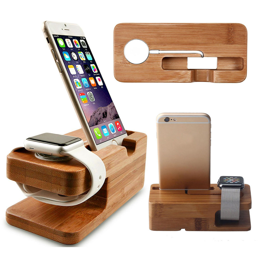 Watch stand for iwatch apply iphone charging holder stand natural bamboo wood charge station charging dock cradle stand holders in mobile phone holders