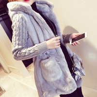 New Women S Sweater Coat Autumn 2017 Winter Fashion Loose Knitted Patchwork Plush Thick Slim Sweater