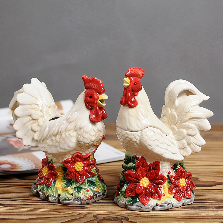 2pcsset Chicken Milk Cup Sugan Cans Ceramic Animal Table Ornament Home Decoration
