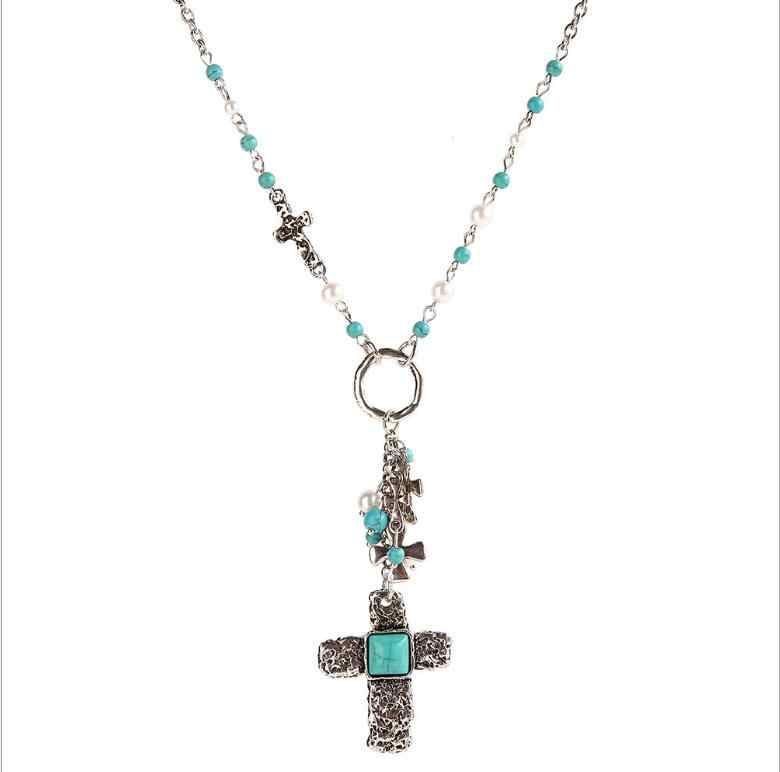 Ethnic Religion Alloy Cross Pendant Necklace For Women Boho Bib Imitation Pearl Synthetic Stone Chain Necklace Fashion Jewelry