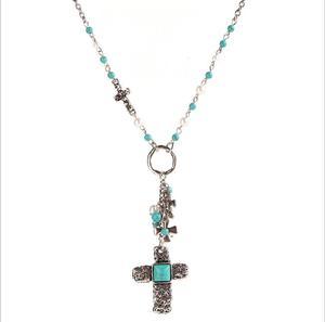 Ожерелье с подвеской в стиле бохо, из сплава в этническом стиле, с искусственным жемчугом, синтетическая цепочка с камнями, модные украшения