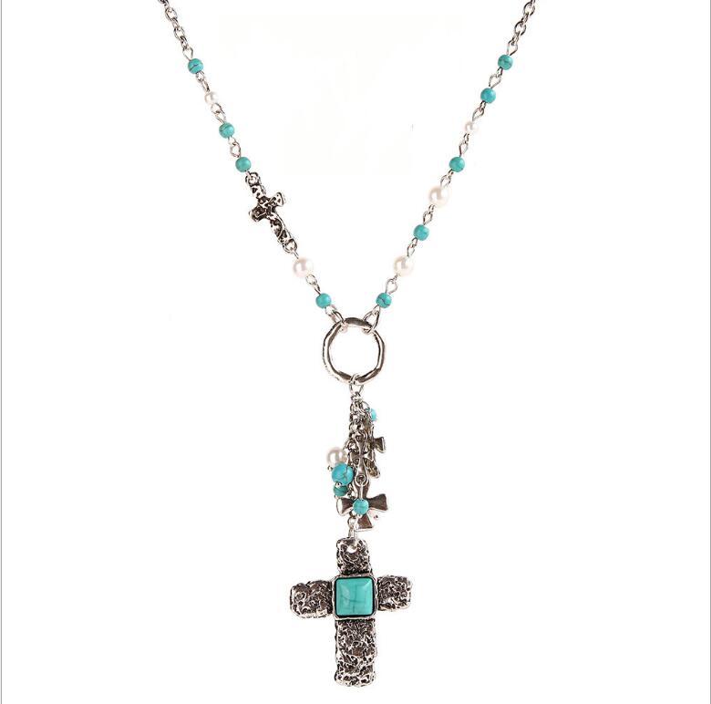 Ethnique Religion Alliage Croix Pendentif Collier Pour Les Femmes Boho Bib Imitation Perle Synthétique Pierre Chaîne Collier De Mode Bijoux
