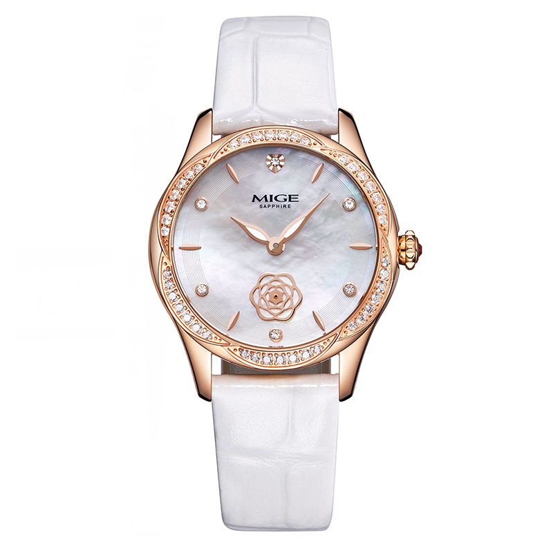 Mige Real Top Brand Luxury Casual Fashion Ladies Watches White Leather Rose Gold Case Female Clock Quartz Waterproof Women Watch mige top brand luxry women rose watch 2017 new female casual gold case fashion pink leather waterproof quartz ladies watches