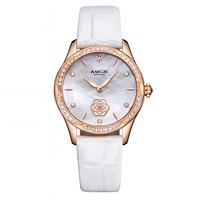 Mige Real Top Brand Luxury Casual Fashion Ladies Watches White Leather Rose Gold Case Female Clock Quartz Waterproof Women Watch