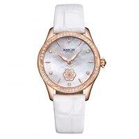 Mige prawdziwa Top marki luksusowe moda na co dzień panie zegarki białe skórzane złota róża Case zegar kwarcowy wodoodporny zegarek damski w Zegarki damskie od Zegarki na