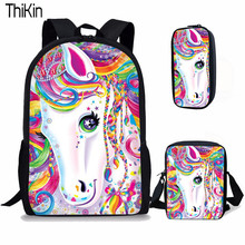 Bolsas escolares con estampado de unicornio de dibujos animados de THIKIN 3 unids/set para niños mochilas escolares de gran capacidad para niñas