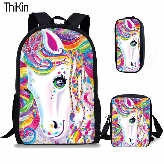 THIKIN 3Pcs/set Cute Cartoon Unicorn Printing School Bags for Kids Primary Schoolbags Girls Large Capacity Book Bags Satchel