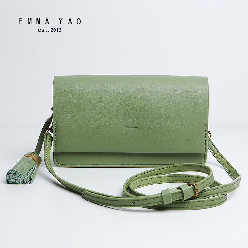 EMMA YAO women leather  crossbody bag fashion women messenger bags famous brand shoulder bag emma yao leather women bag fashion korean tote bag new designer women messenger bags