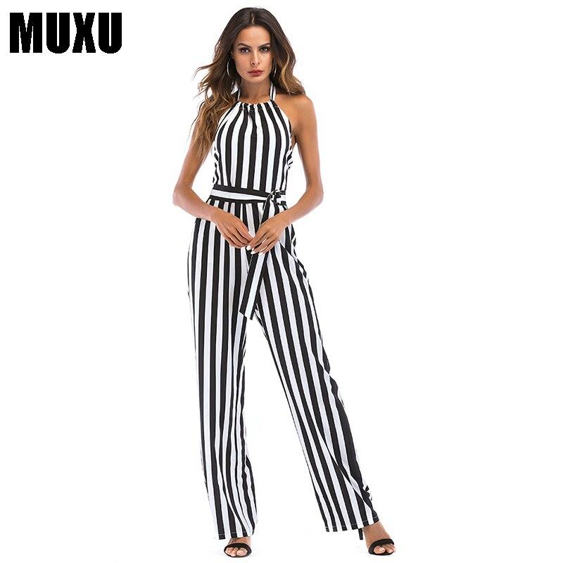 MUXU sexy summer women backless black white striped jumpsuit combinaison femme long jumpsuits sleeveless casual streetwear 2018