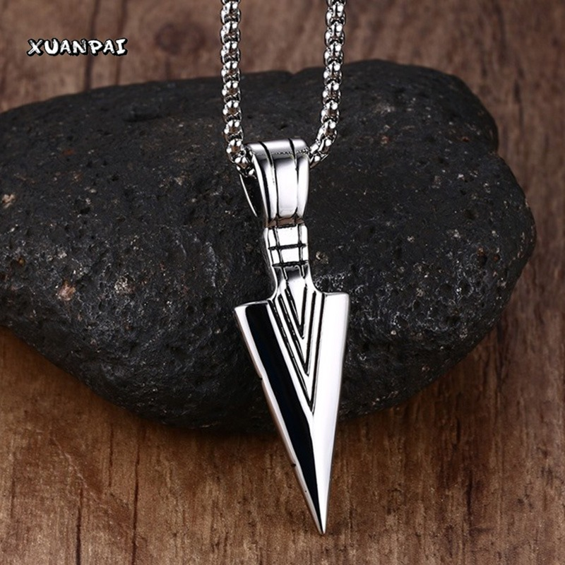 Striking Mens font b Necklaces b font Stainless Steel Vintage Spearhead Arrowhead font b Pendant b