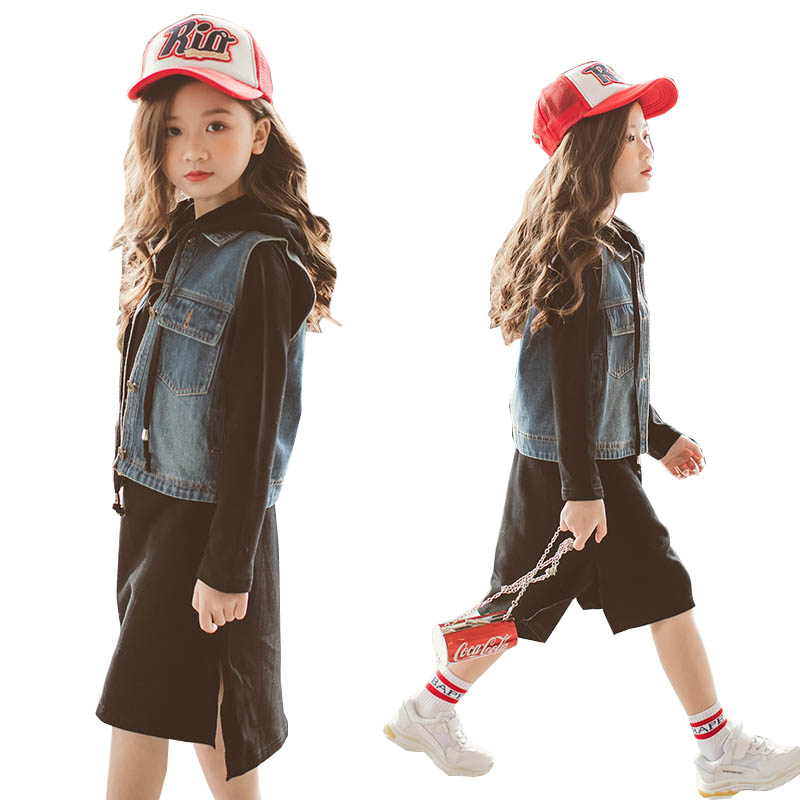 Girls clothing set autumn Denim vest T shirt hoodie two pieces teenage girls clothes kids tracksuit for girls Children clothes 3d two cats style hoodie for man
