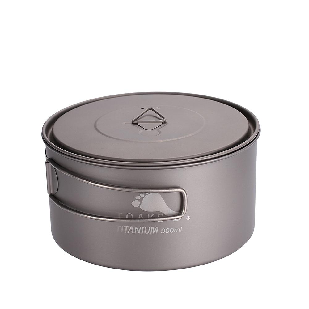 TOAKS Outdoor Titanium 900ml Pot Camping Cooking Pots Picnic Ultralight Titanium Pot with cover and handle