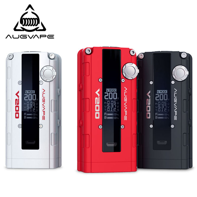 Augvape V200 Electronic Cigarette Mechanical Mod Vape Box TC 200W Electronic Cigarette Box Mod 18650 Battery RDA RTA Mode Vape small cigarette box vending machine bjy b50 with light box