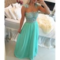 Elegant Pearls Mint Chiffon Gown Sexy Sheer Top Appliques Vestidos De Fiesta Long Evening Dress Gowns Abiti Da Cerimonia Da Sera