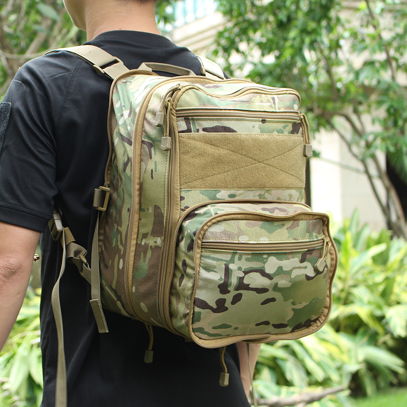 Tactifans Tactical Flatpack Backpack Hydration Backpack Molle Pouch Airsoft Gear Military Multipurpose Travel Shoulder Bag