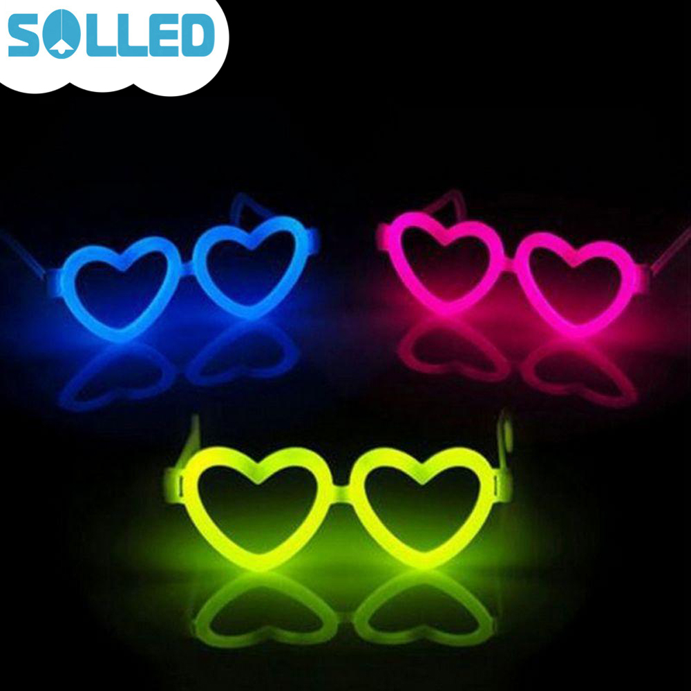 SOLLED Heart Shape Luminous Glasses Colorful Glow Stick Glasses Frame