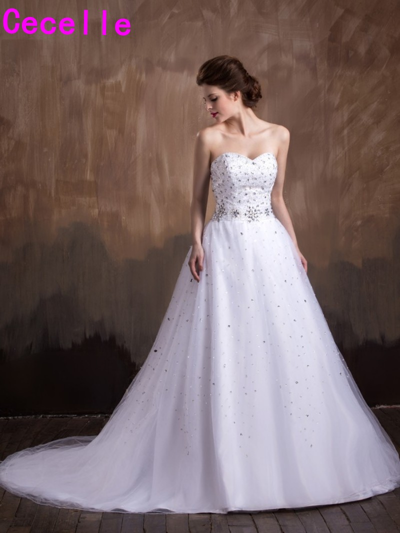 Sparkle A Line Sweetheart Beaded Crystals Tulle font b Wedding b font Dresses Bling White Glamorous