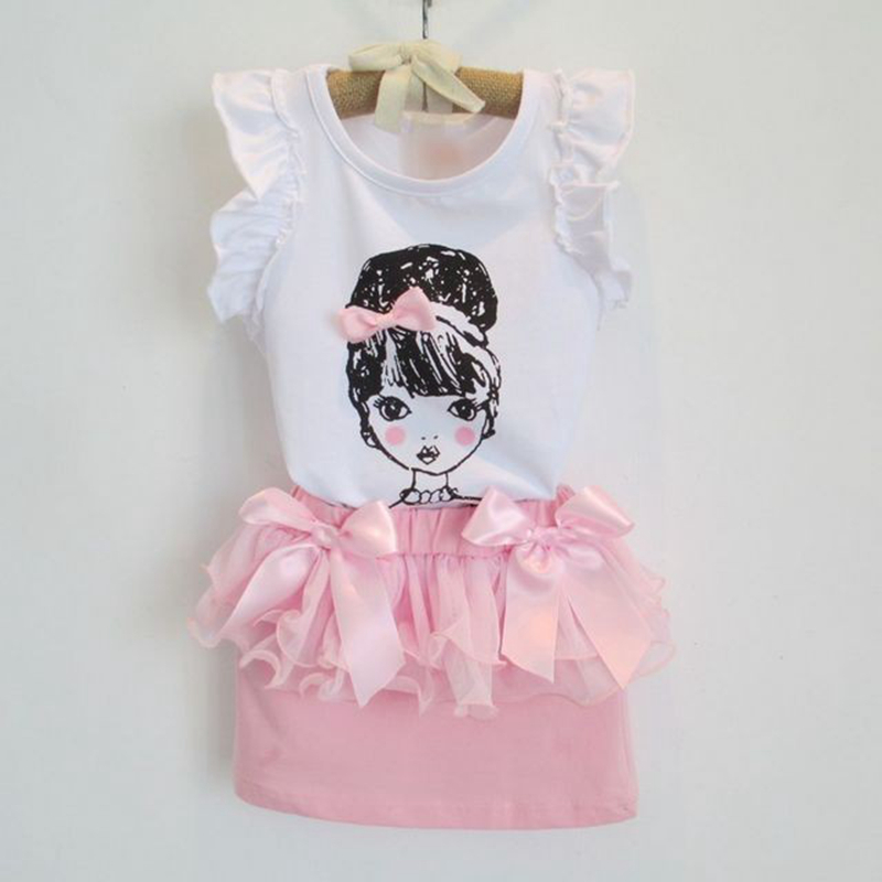 2016 Summer Boutique Girl Clothing set Pink Sleeveless Bow Tee Shirt+Cute Gauze Skirt Baby Costume Casual Girl Clothes Suit