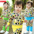 new 2014 Spring Autumn kids clothes sets baby boys girls hooded sports suit children outerwear + pants casual cartoon tracksuits