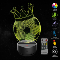 Crown Football 3D Illusion Lamp 7 Color Change Touch Switch LED Night Light Acrylic Desk Lamp Atmosphere Lamp Novelty Lighting