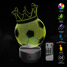 Crown Football 3D Illusion Lamp 7 Color Change Touch Switch LED Night Light Acrylic Desk Atmosphere Novelty Lighting