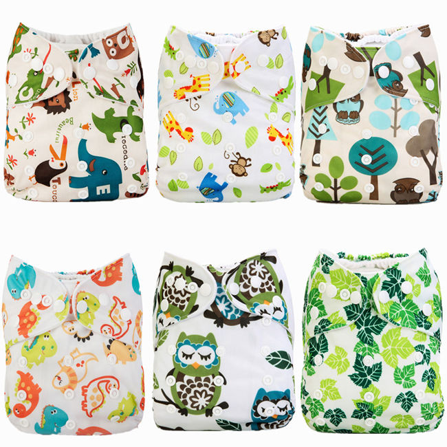 [Mumsbest] Baby Cloth Diapers 6pcs/Pack With Insert Baby Cartoon Reusable Washable Adjustable Waterproof Babies Nappy Set Pack