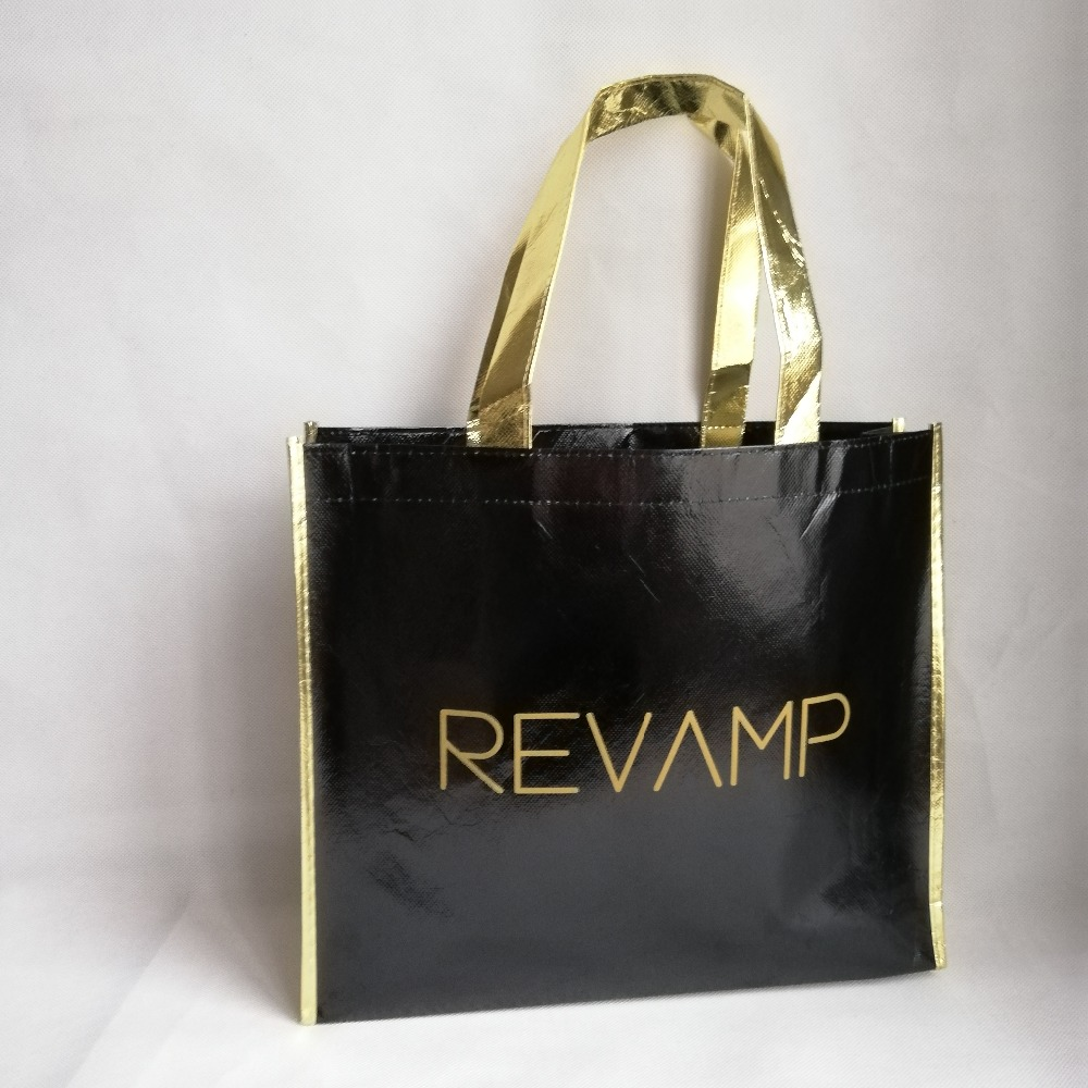 3063771201 Wholesale 1000pcs lot 30Hx35x8cm Custom Logo Black Metallic Laser Non-woven Shopping  Tote Bags