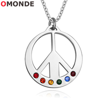 Buy world peace pendants and get free shipping on aliexpress omonde anti war world peace pendant necklaces colorful shiny cubic zirconia stones stainless steel antiwar jewelry aloadofball Choice Image