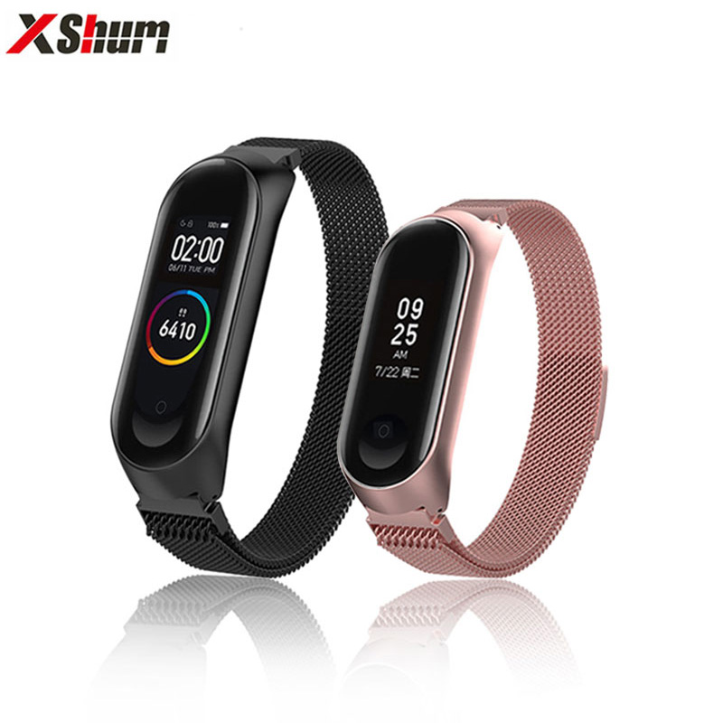 XShum Mi Band 3 Bracelet Strap For Xiaomi Mi Band 4 Strap Metal Miband 4/3 Band Stainless Steel Replacement Smart Accessories