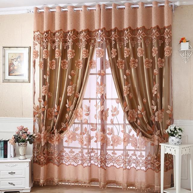 250cm X 95 Cm Flower Tulle Door Window Curtain Drape Panel Sheer Scarf Valances Curtains 4