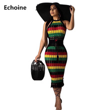 Women Colorful Striped Print Sleeveless Midi Dress Slim Bodycon Elegant Fringe Party Dresses Skinny Clubwear Outfit Vestidos
